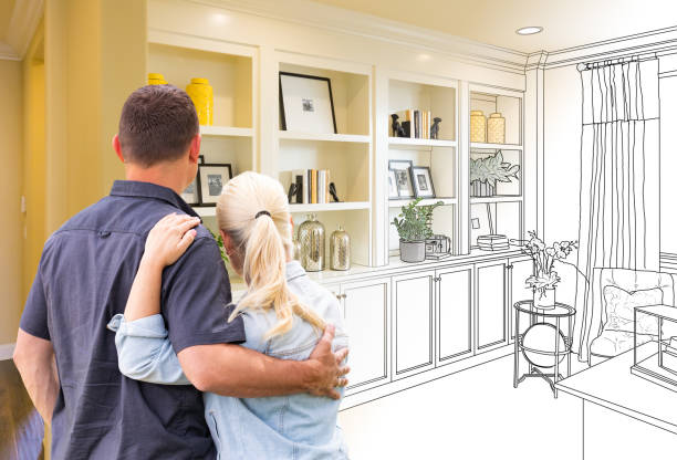 couple facing book shelf built-in drawing gradating to photo - customize stock pictures, royalty-free photos & images