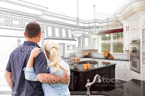 Couple facing custom kitchen drawing gradating to photo picture id1151042541?b=1&k=6&m=1151042541&s=612x612&h=voozljgvipw arx7vvmtzxr uqkollywvtdo zfv9ty=