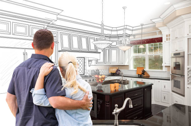 Couple Facing Custom Kitchen Drawing Gradating To Photo Couple Facing Custom Kitchen Drawing Gradating To Photo. dreamlike stock pictures, royalty-free photos & images