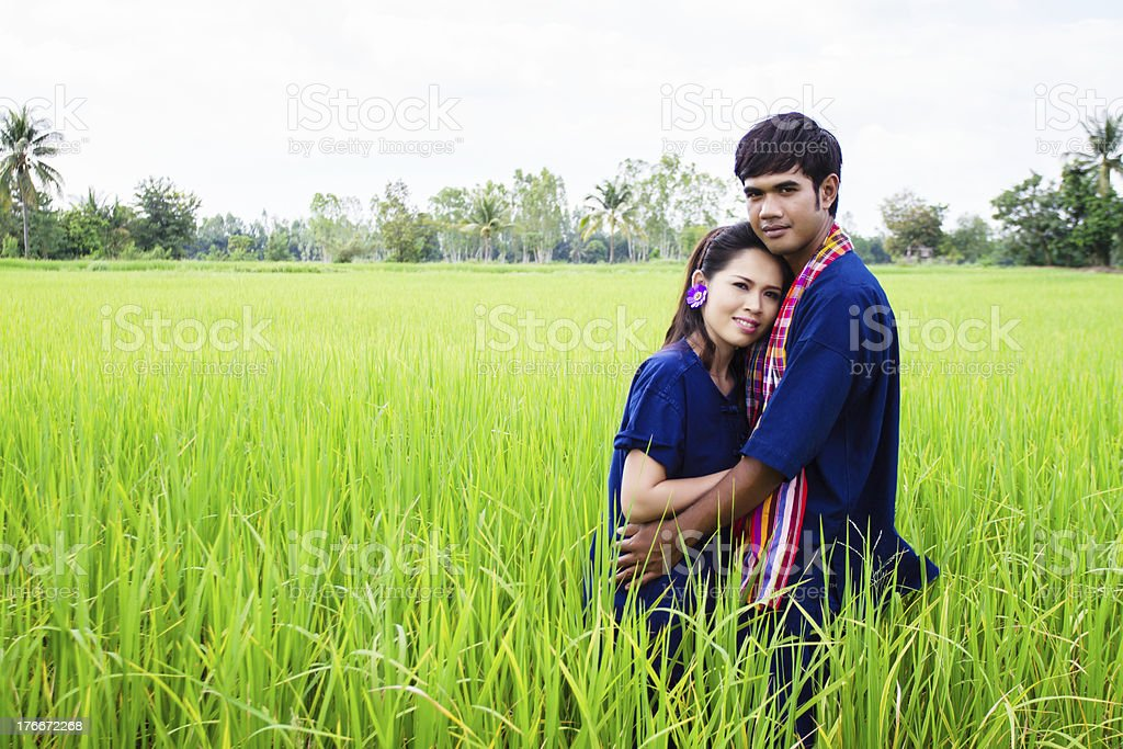Couple farmer on rice fields royalty-free stock photo
