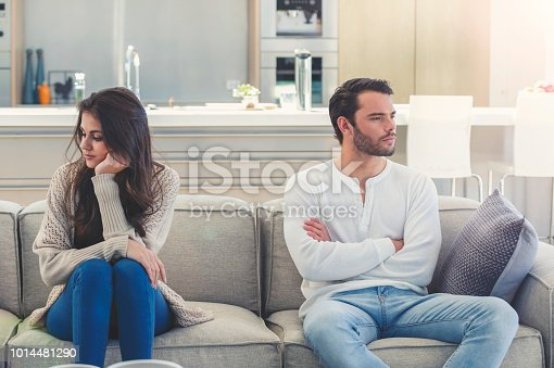520496686 istock photo Couple fighting at home. 1014481290