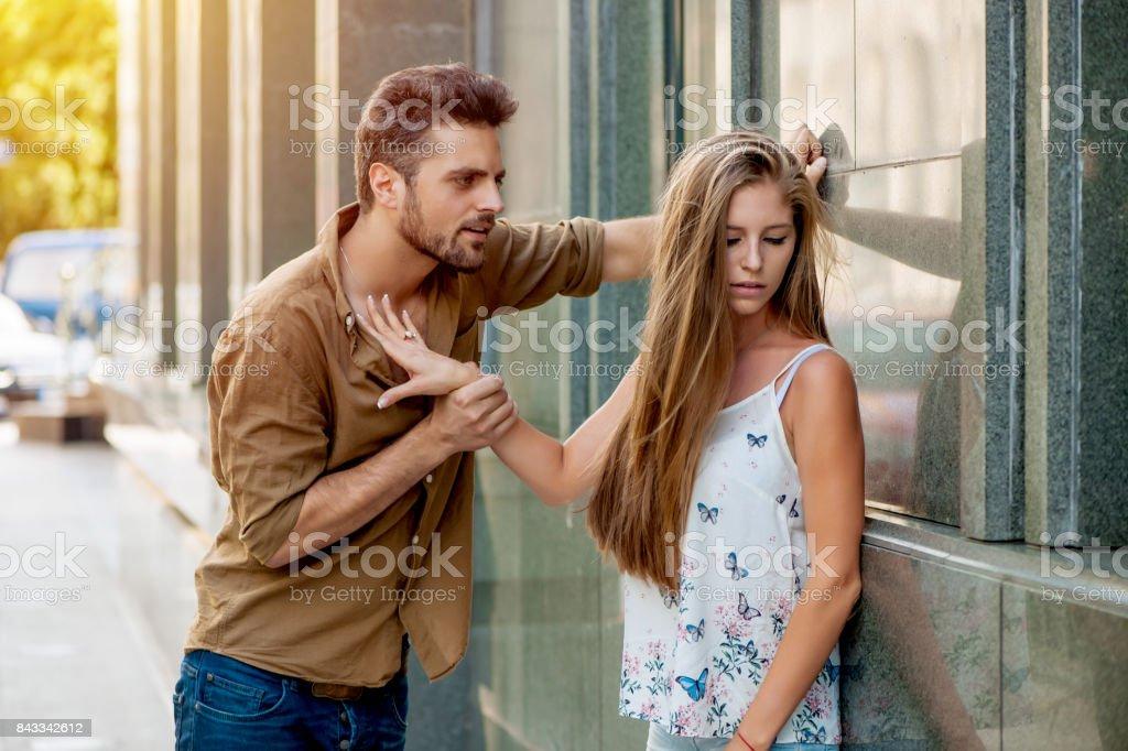 Couple fighting stock photo