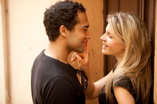 Couple Flirt Kiss Stock Photo - Download Image Now - iStock