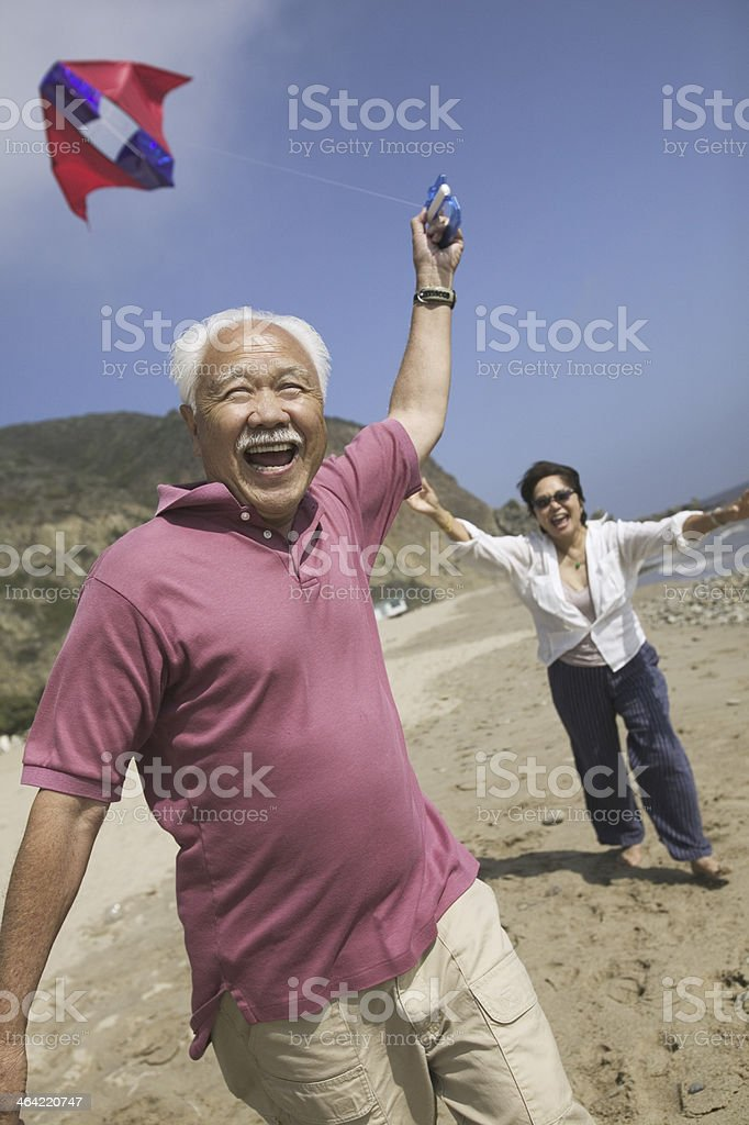 Couple Flying Kite Together royalty-free stock photo