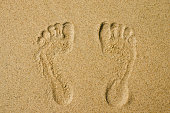 couple footprint on sandy the beautiful beach background summer concept.