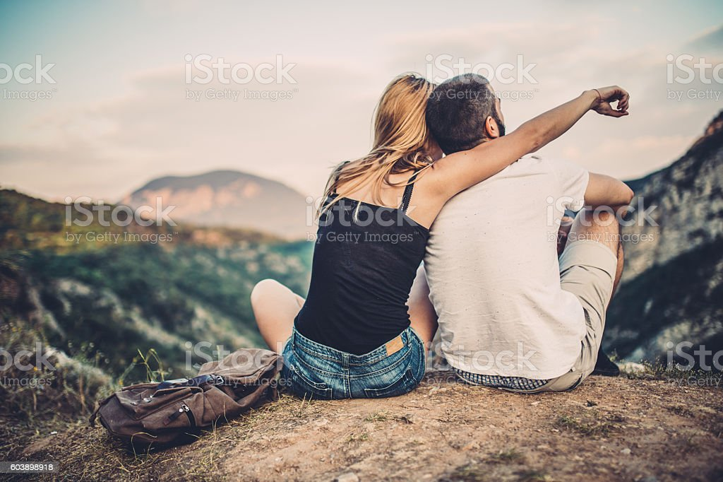Couple fun in nature stock photo