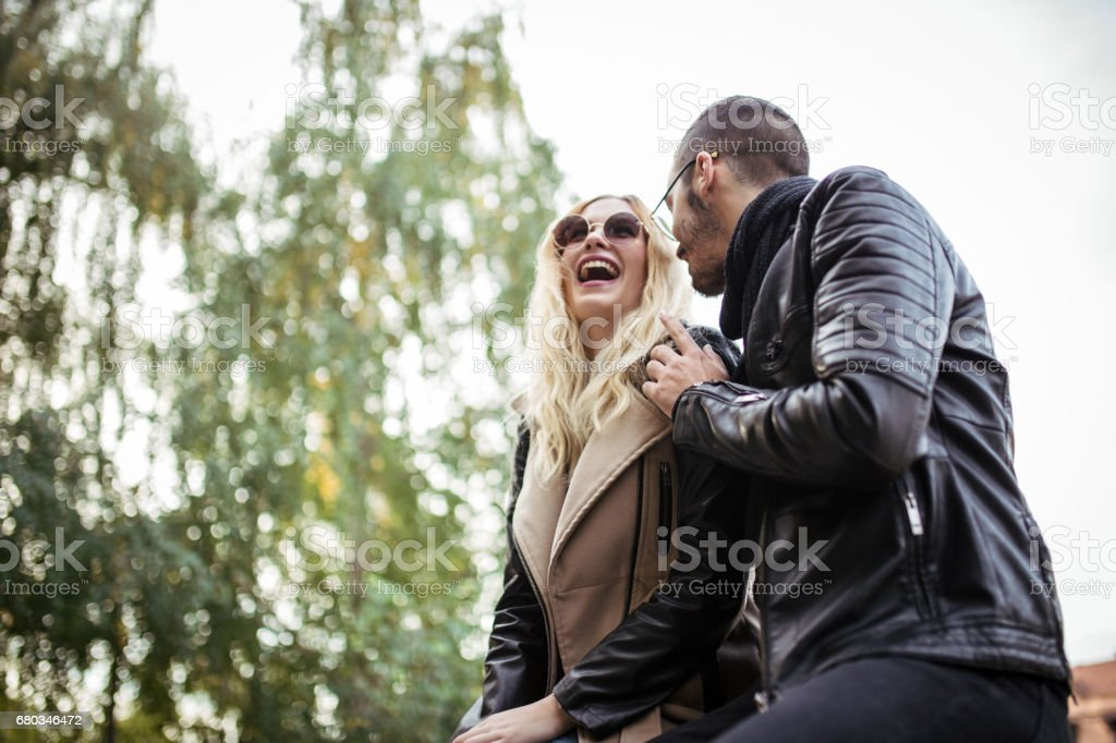 Couple fun in park royalty-free stock photo