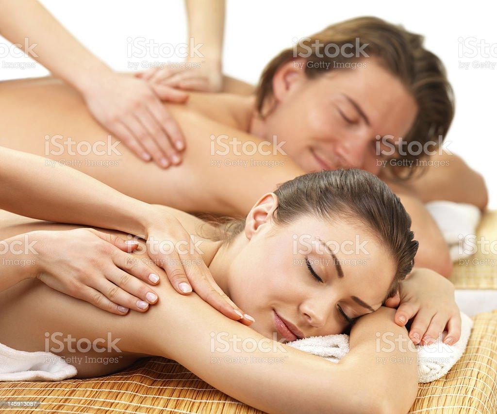 Couple getting back massage royalty-free stock photo