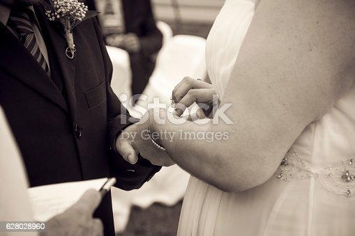 Just married couple showing ringCouple getting married putting rings