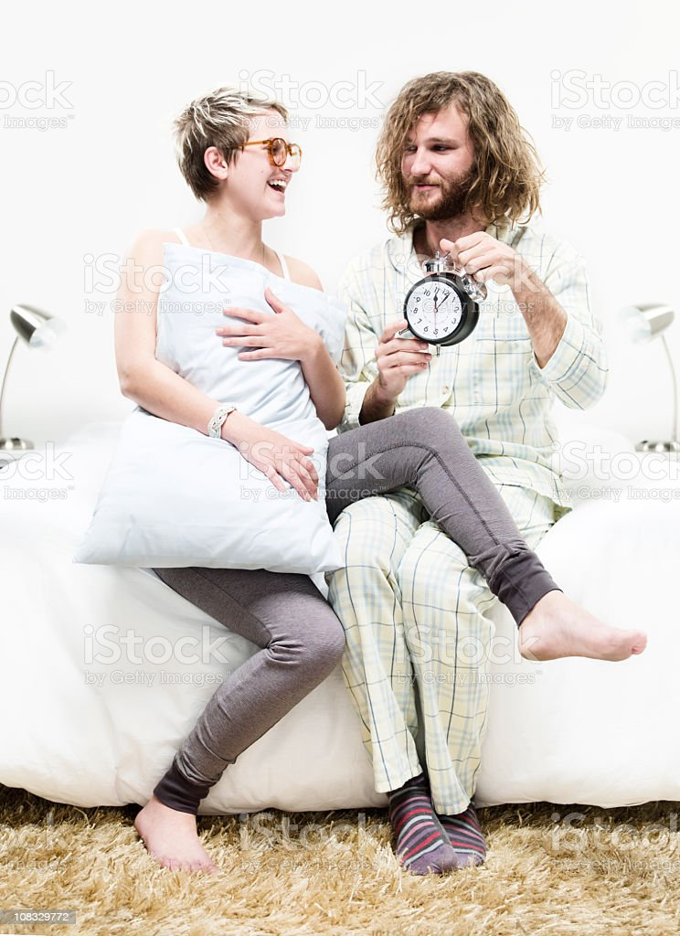Couple getting up stock photo