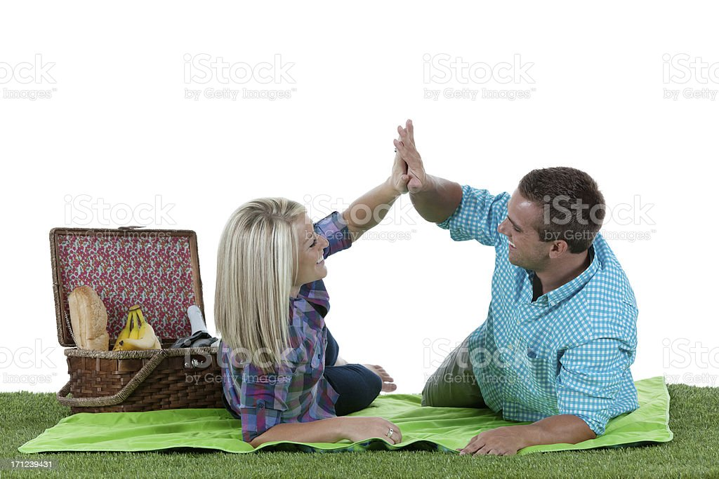 Couple giving high five to each other royalty-free stock photo
