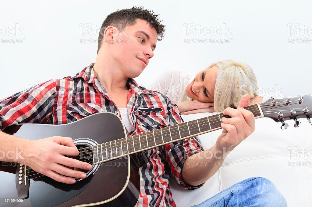 Couple Guitar Happy stock photo