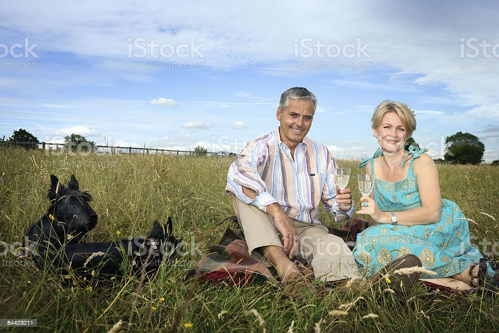 Couple have a picnic in a field royalty-free stock photo
