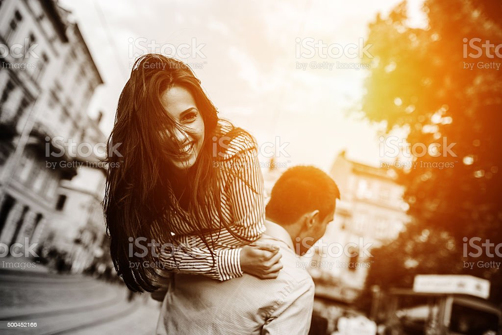 Couple have fun in the city stock photo