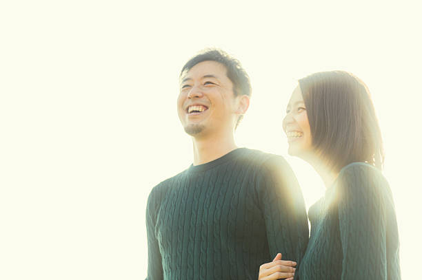 couple having a good time in outdoors - 夫婦 ストックフォトと画像