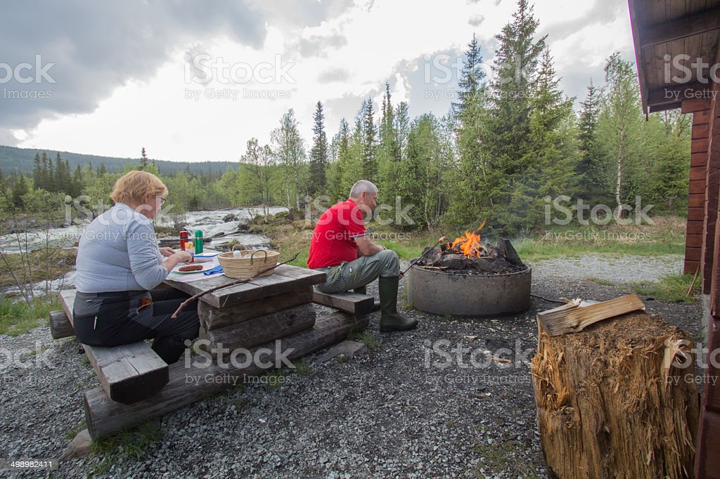 couple having a picnic and a grill royalty-free stock photo