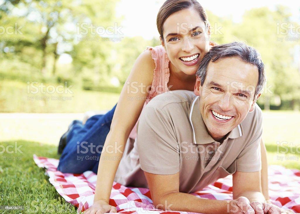 Couple having a picnic royalty-free stock photo