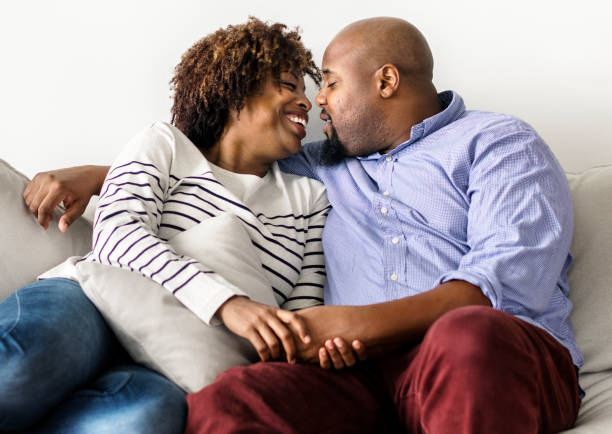 Couple having a romantic and happy time together stock photo
