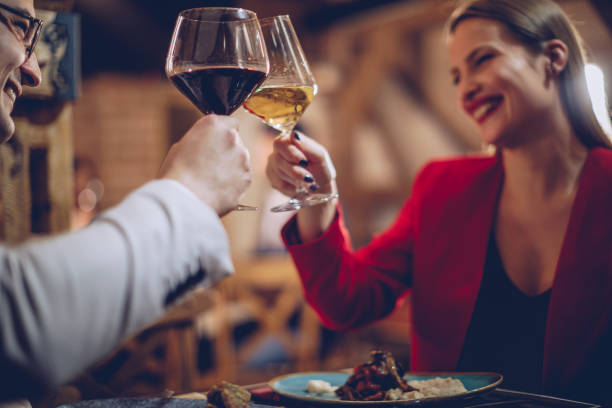 couple having a romantic night - dinner date stock photos and pictures
