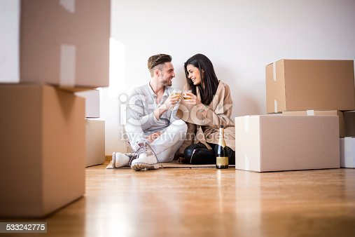 istock Couple having a toast in new apartment 533242775