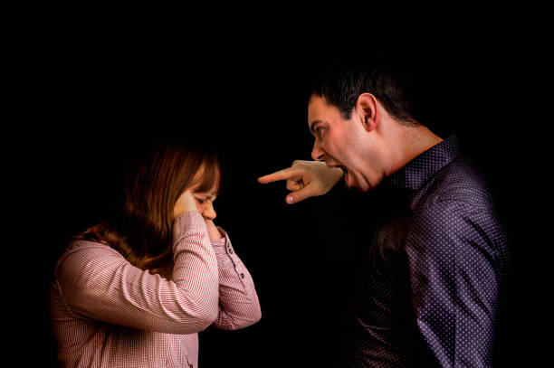 couple having argument - family quarrel concept - row of heads stock photos and pictures