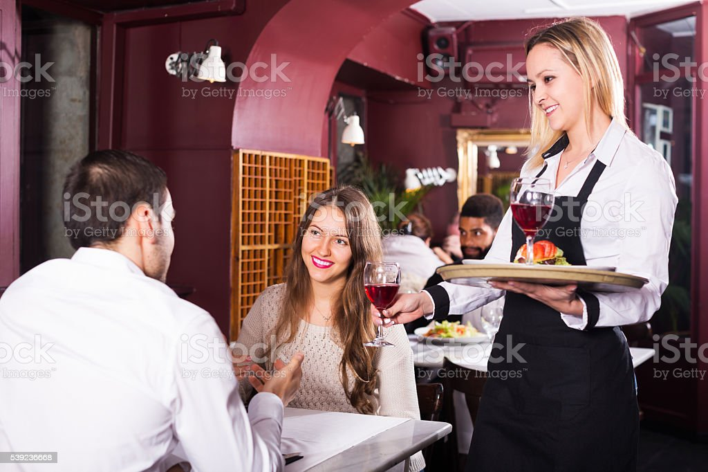 Couple having date in restaurant royalty-free stock photo