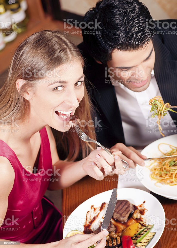 Couple having dinner together royalty-free stock photo