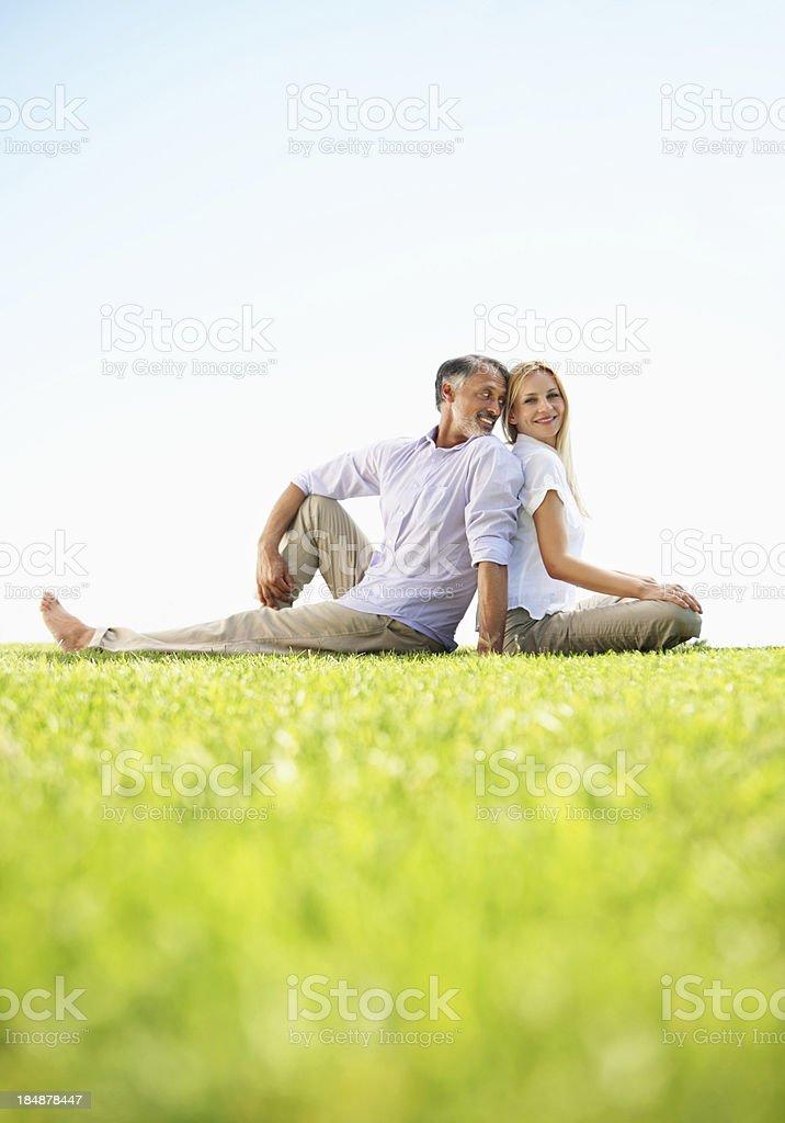 Couple having fun in park royalty-free stock photo