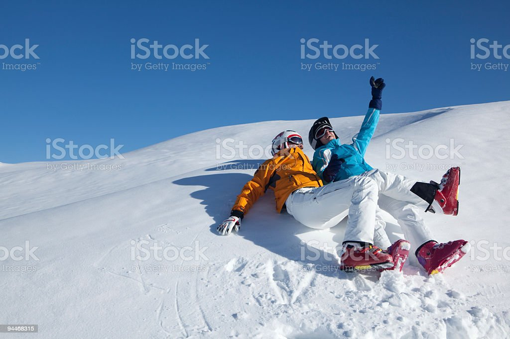 couple having fun in snow royalty-free stock photo