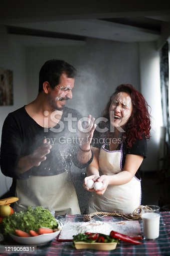 Couple Having Fun in The Kitchen, Stay At Home, Quarantine Activity At Home