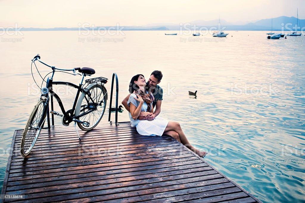 couple having fun on vacation at the lake stock photo