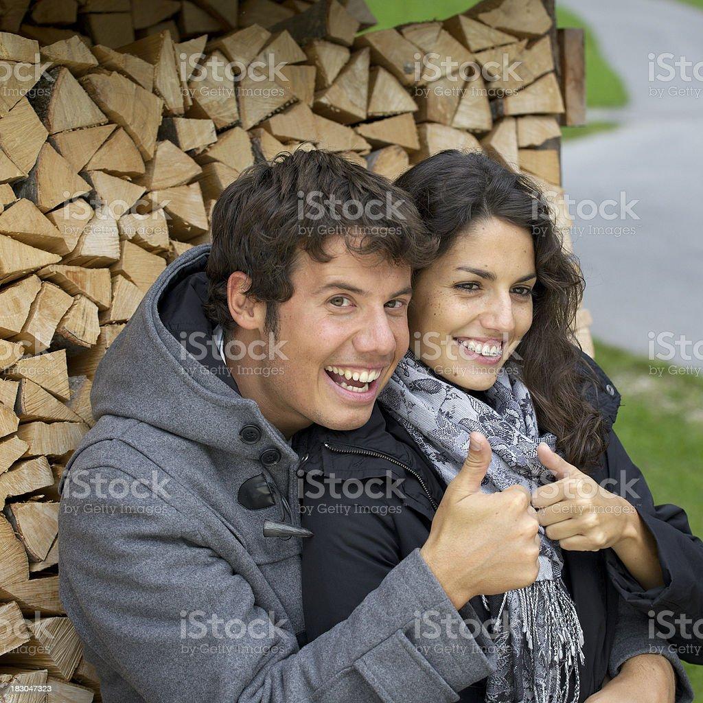 couple having fun outdoors royalty-free stock photo