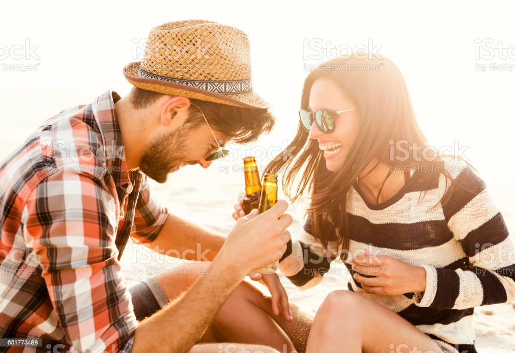 Couple having great time together stock photo