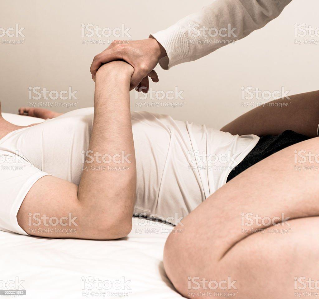 Couple having problems in bedroom stock photo