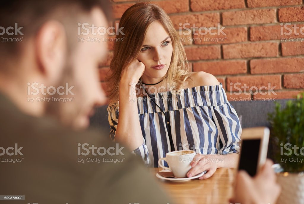 Couple having problems with communication stock photo