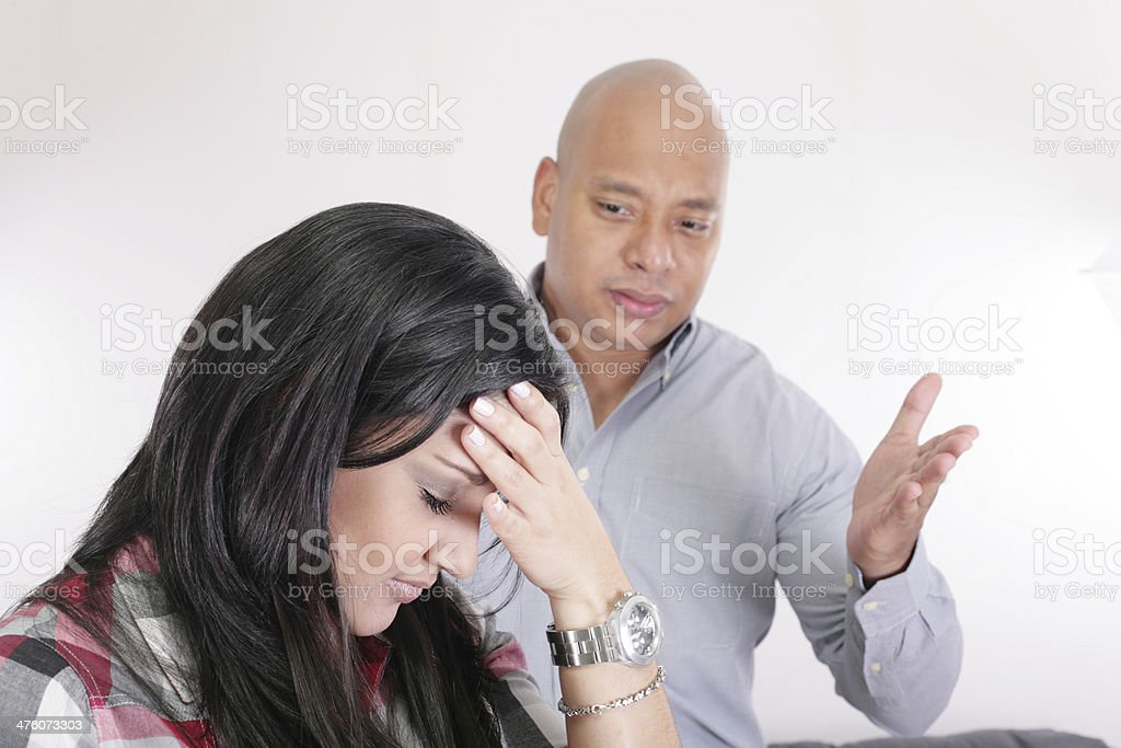 couple having relationship difficulties stock photo