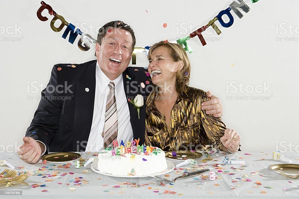 Couple having retirement party royalty-free stock photo