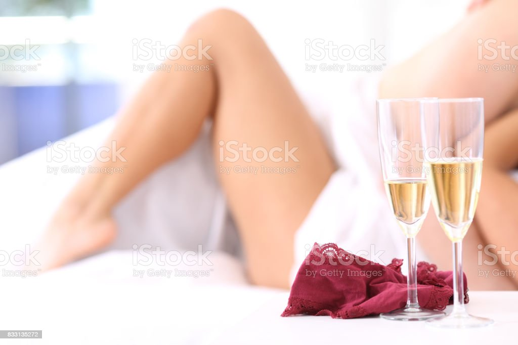 Couple having sex in an hotel room stock photo