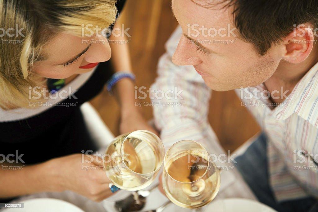 Couple having wine royalty-free stock photo