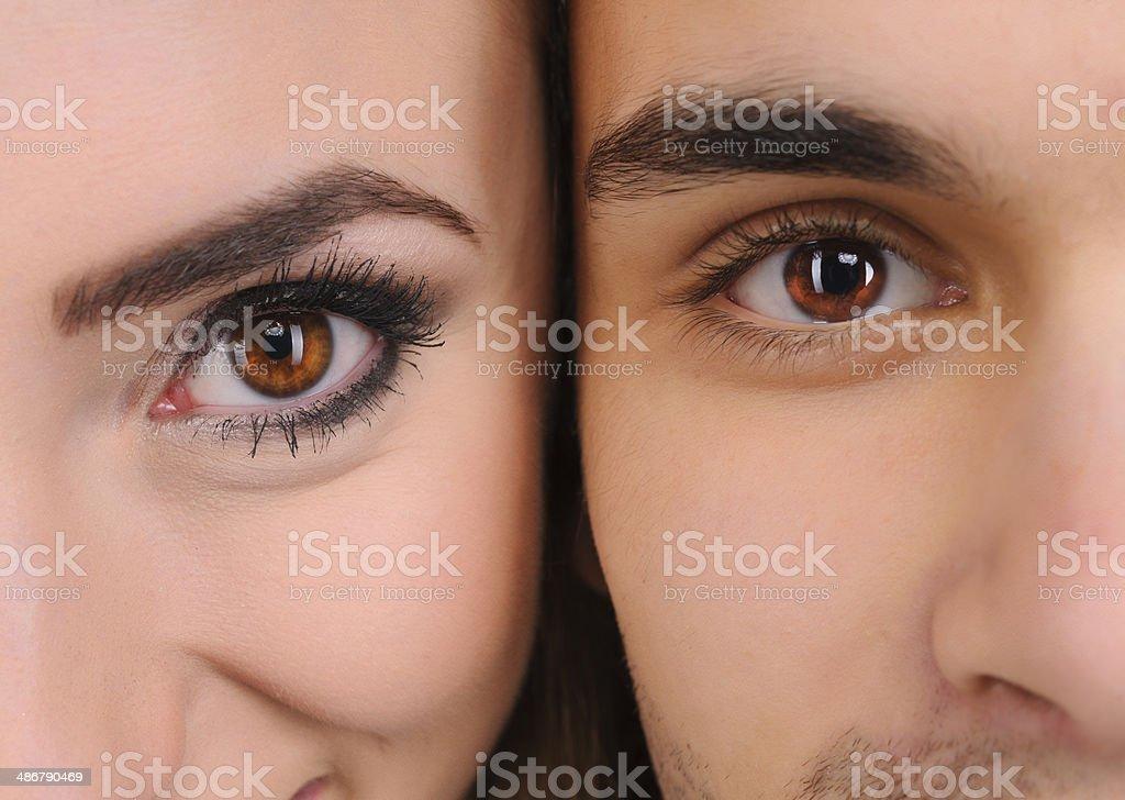 couple hazel eyes stock photo