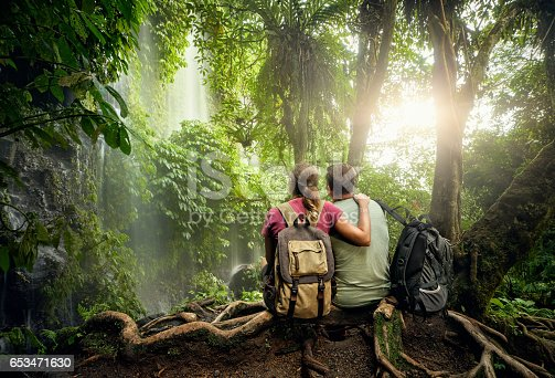 istock Couple hikers with backpacks enjoying view waterfall in rain forest 653471630