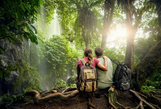 couple hikers with backpacks enjoying view waterfall in rain forest - ломбок стоковые фото и изображения