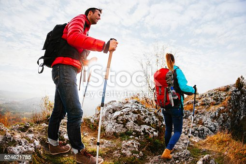istock Couple hiking in mountains 524621785