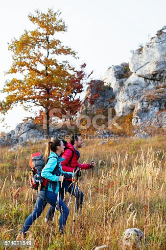 istock Couple hiking in mountains 524621849