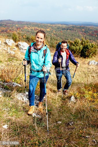 istock Couple hiking in nature 524743339