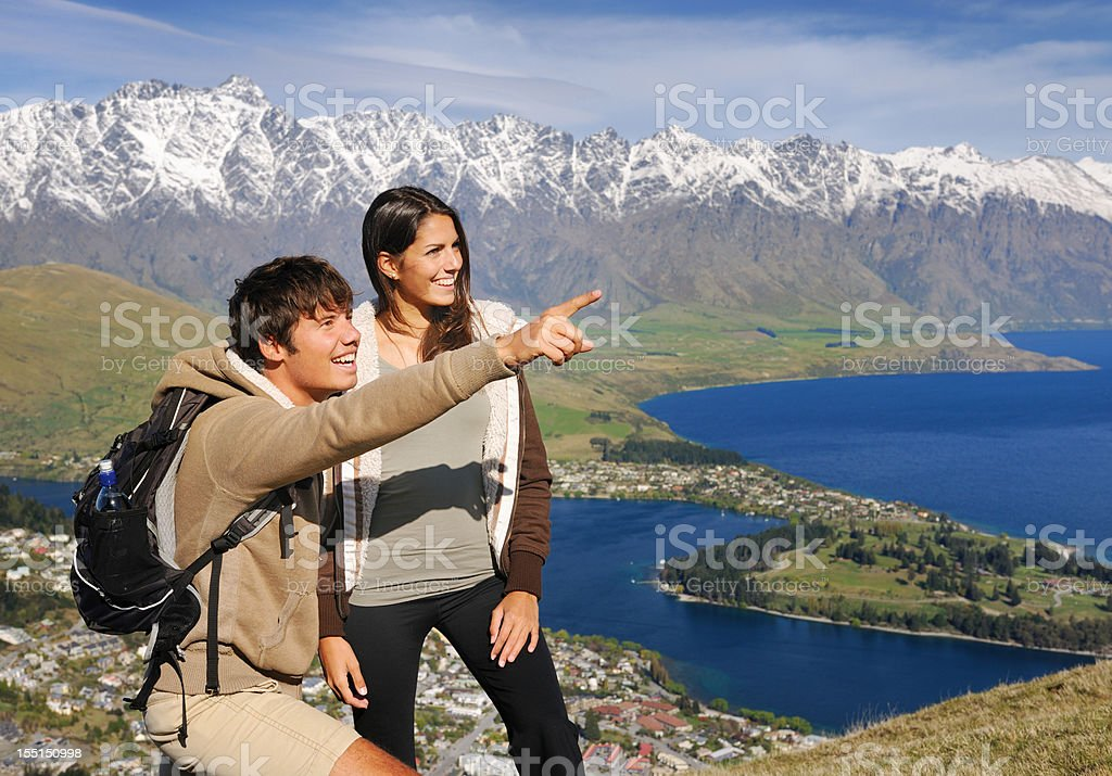 Couple hiking in New Zealand (XXXL) royalty-free stock photo