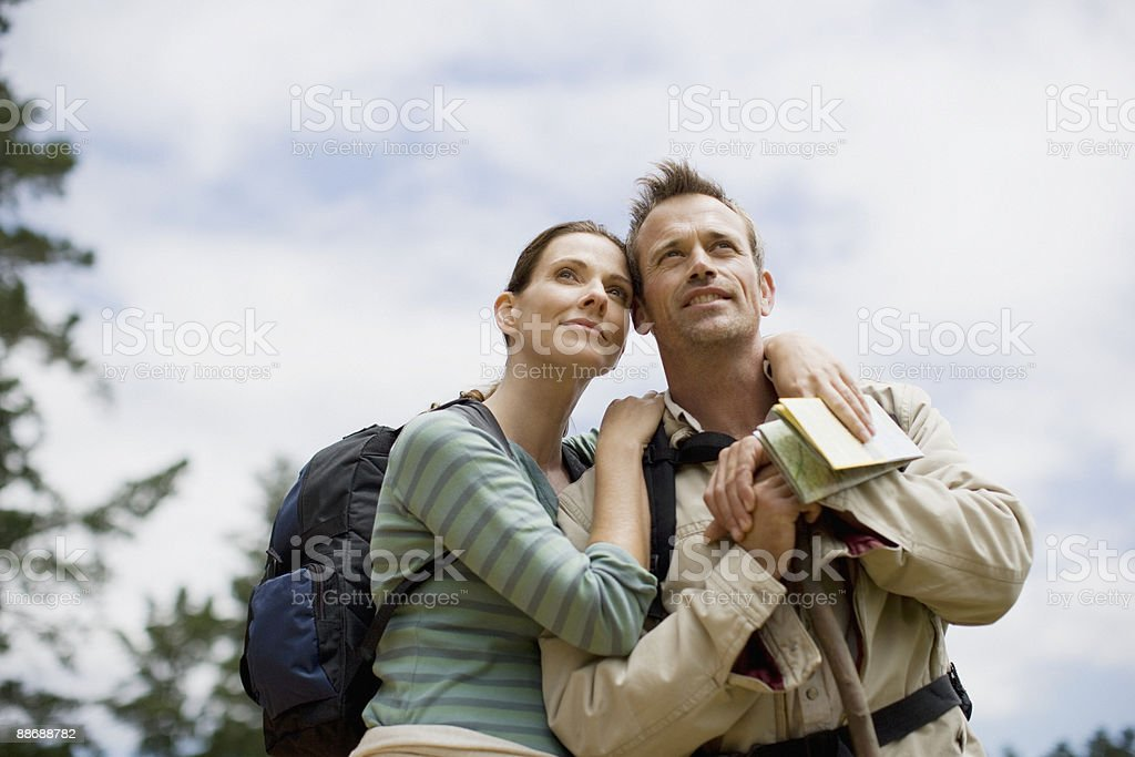 Couple hiking in remote area royalty-free stock photo