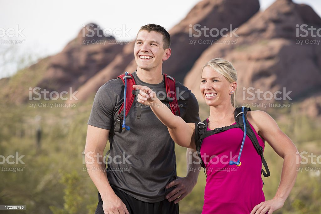 Couple Hiking in the Desert royalty-free stock photo
