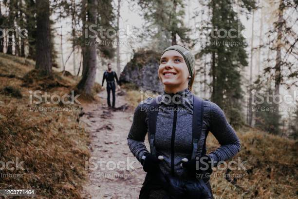 Photo of Couple hiking in the Dolomites