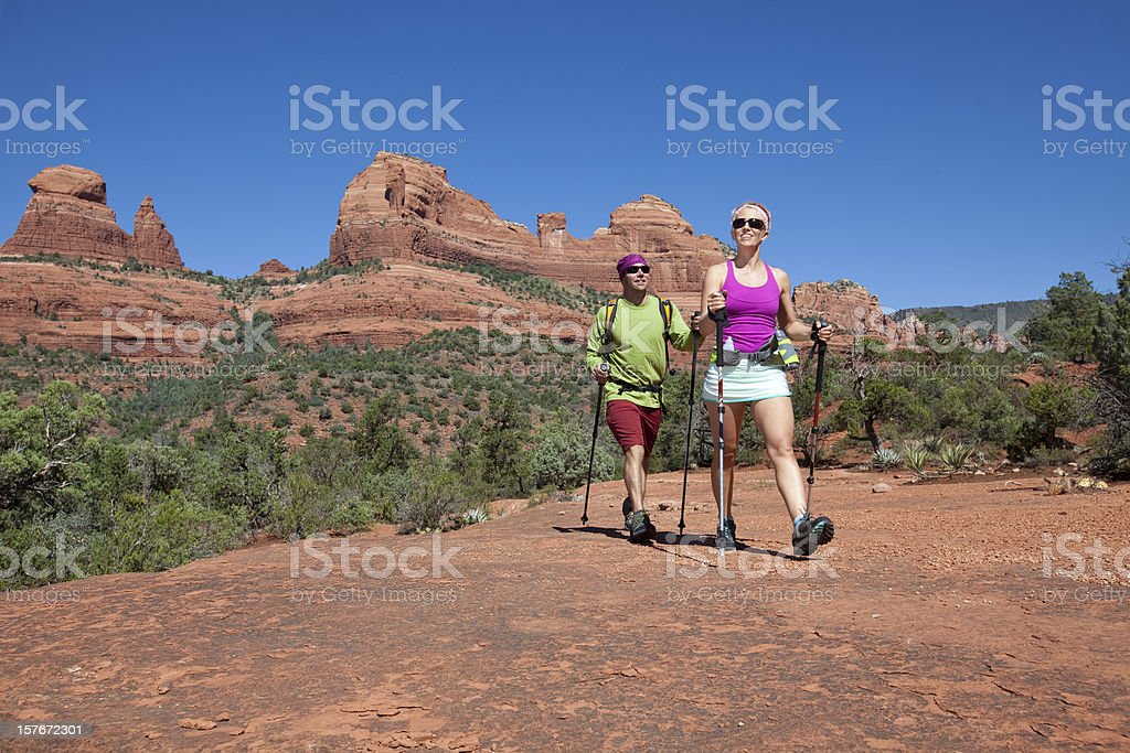 Couple hiking stock photo